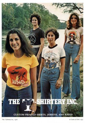 862948d2d3e ... shirt! now if these lovely ladies dont inspire you to wear T Shirtery  nothing will. 70 s fashion get a load of the waist on those jeans they go  up yo ...