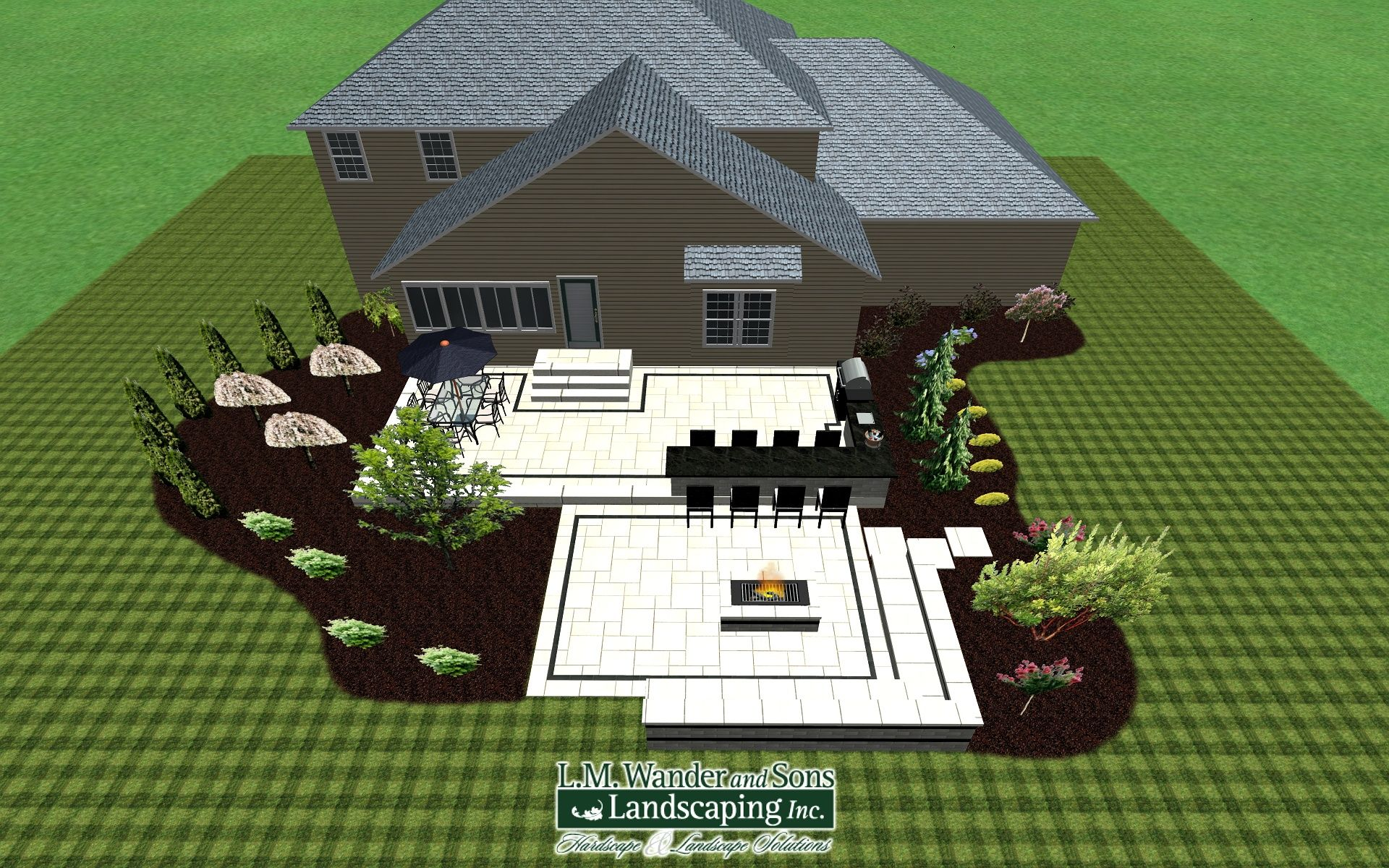 3D Patio Design. Modern Patio With Outdoor Kitchen, 15ft Long Bar Area, And  Gas Fire Pit With Large Sitting Will. Realtime Landscape Architect.
