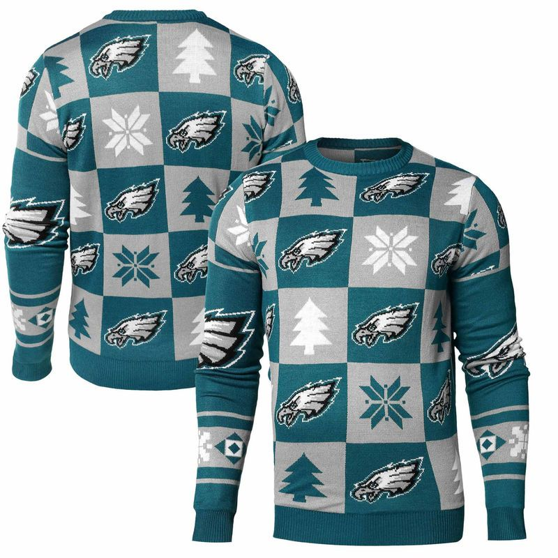 Philadelphia Eagles Klew Patches Ugly Sweater Midnight