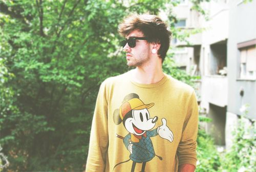 Mickey Mouse yellow sweater.