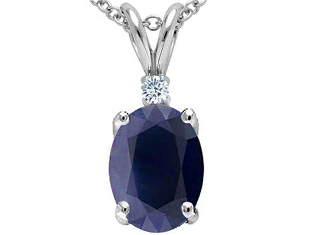 Star K GENUINE 8x6mm Oval Sapphire and Diamond Pendant Necklace
