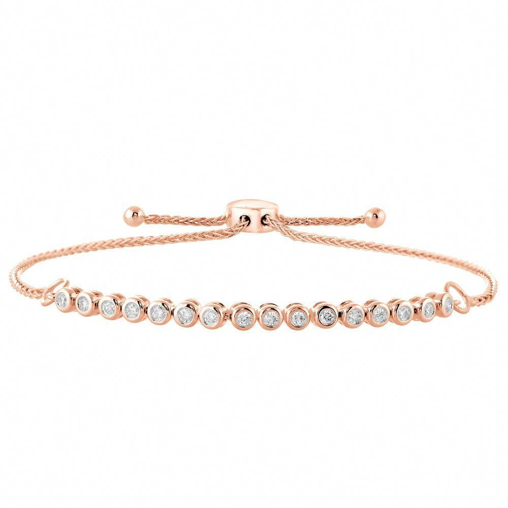 1 3 Ct Bezel Set Real Diamond Tennis Bolo Bracelet 10k Rose Gold Adjustable 9 Caratsforyou Tennis Diamondtennisbra Trending Bracelets Jewelry Gold Bracelet