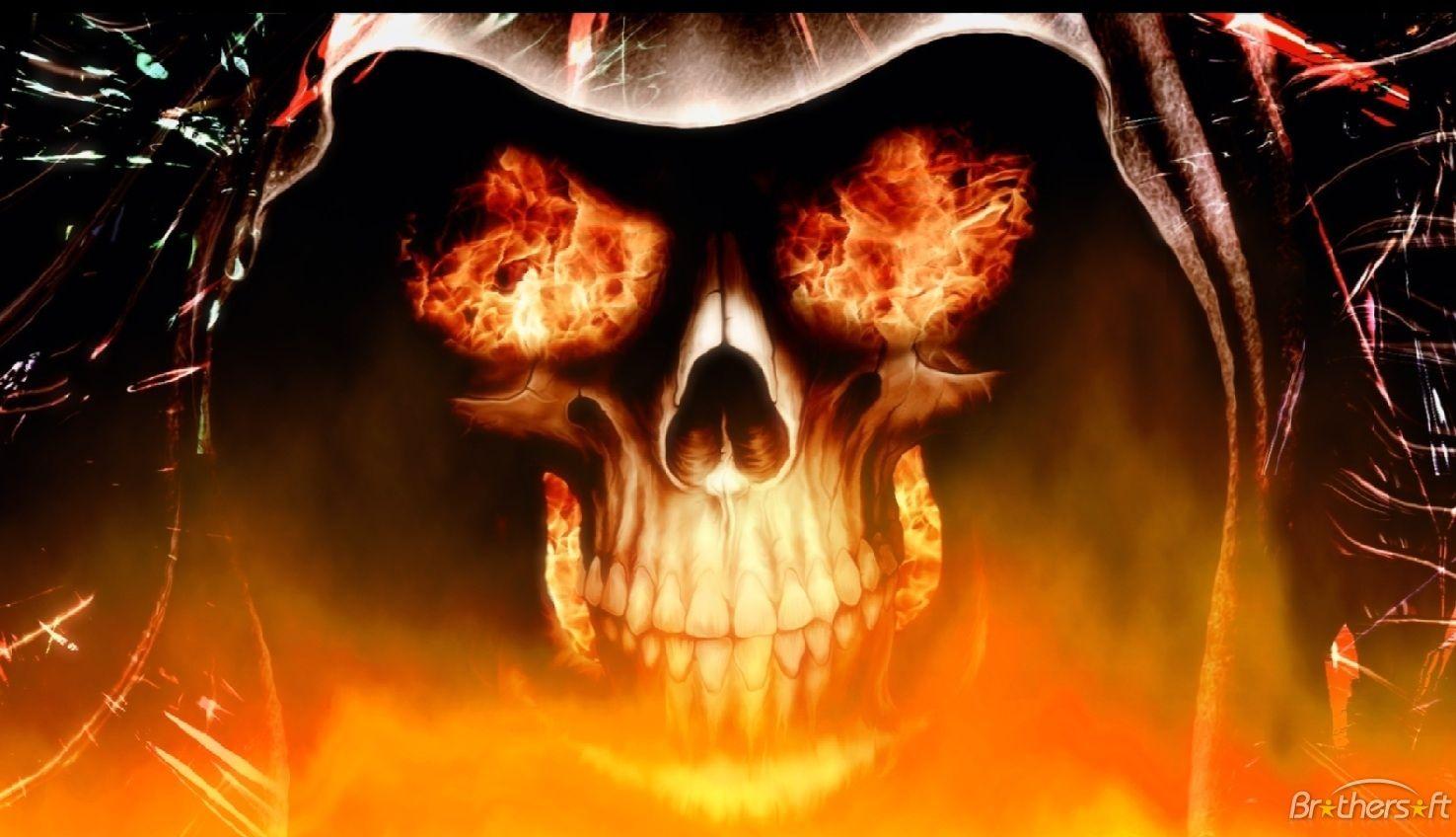 All Images Of Demon Skulls Fire Skull Animated Wallpaper 1 0
