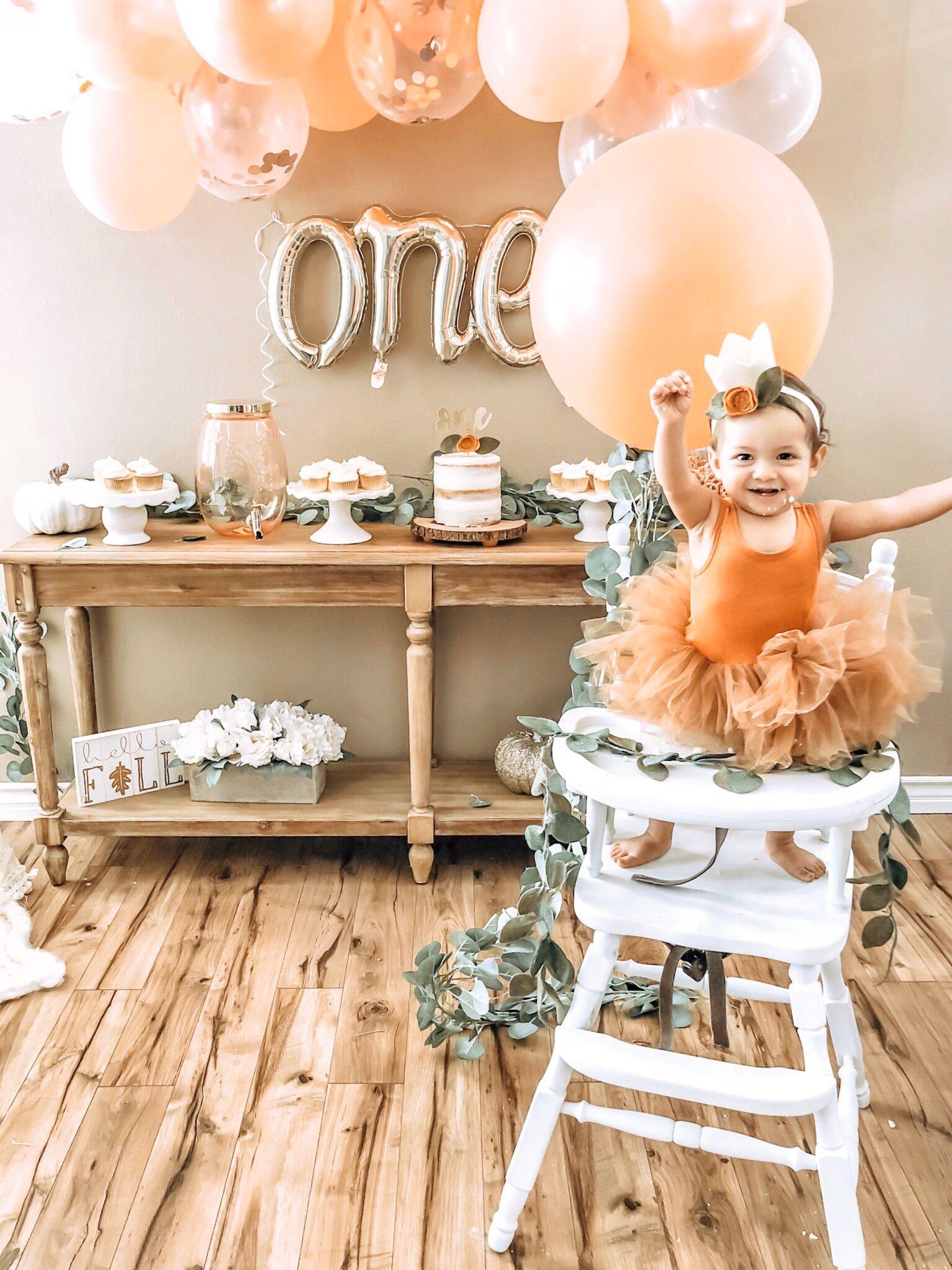 First Birthday Girl Pumpkin First Birthday Girl Birthday Themes Fall Baby Birthday Party