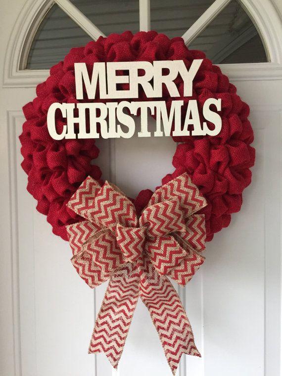 christmas wreath burlap wreath christmas burlap wreath merry christmas wreath burlap wreaths christmas christmas ideas decor and mo - How To Decorate A Burlap Wreath For Christmas