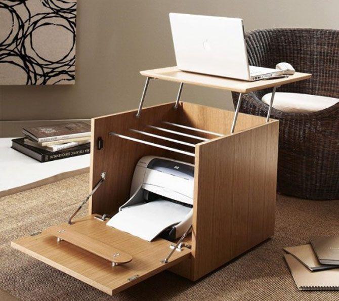 Decoration, Alluring Furniture For Small Spaces Smart Folding Computer Desk  Printer Storage Into Wood Cube Interior Space Saving Design Ideas Also  White ...