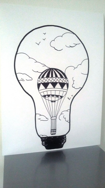 """Ampoule Dessin affiche illustration noir et blanc ampoule """" idée d'envol"""