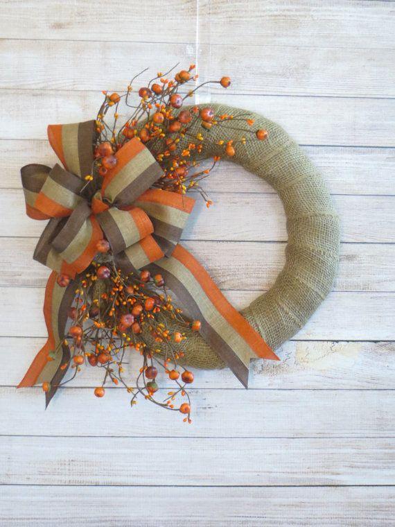Photo of Fall Wreath, Autumn Wreath, Fall Burlap Wreath, Rustic Decor, Fall Country Wreath