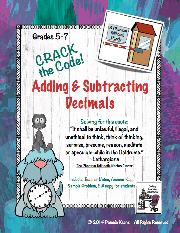 Decimals Adding Subtracting Crack The Code Math Practice Math