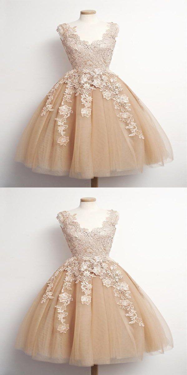 f45d5a316c4 Terrific A-Line Sleeveless Champagne Short Homecoming Dresses ...