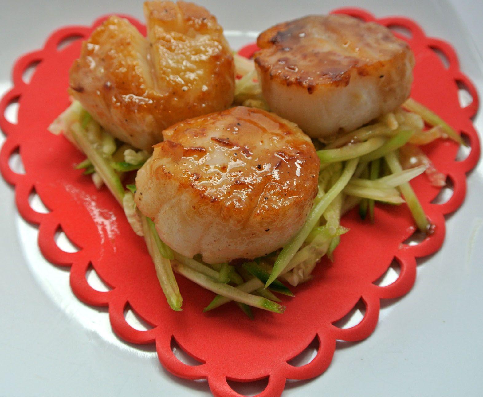 valentines dinner hoisin glazed scallops