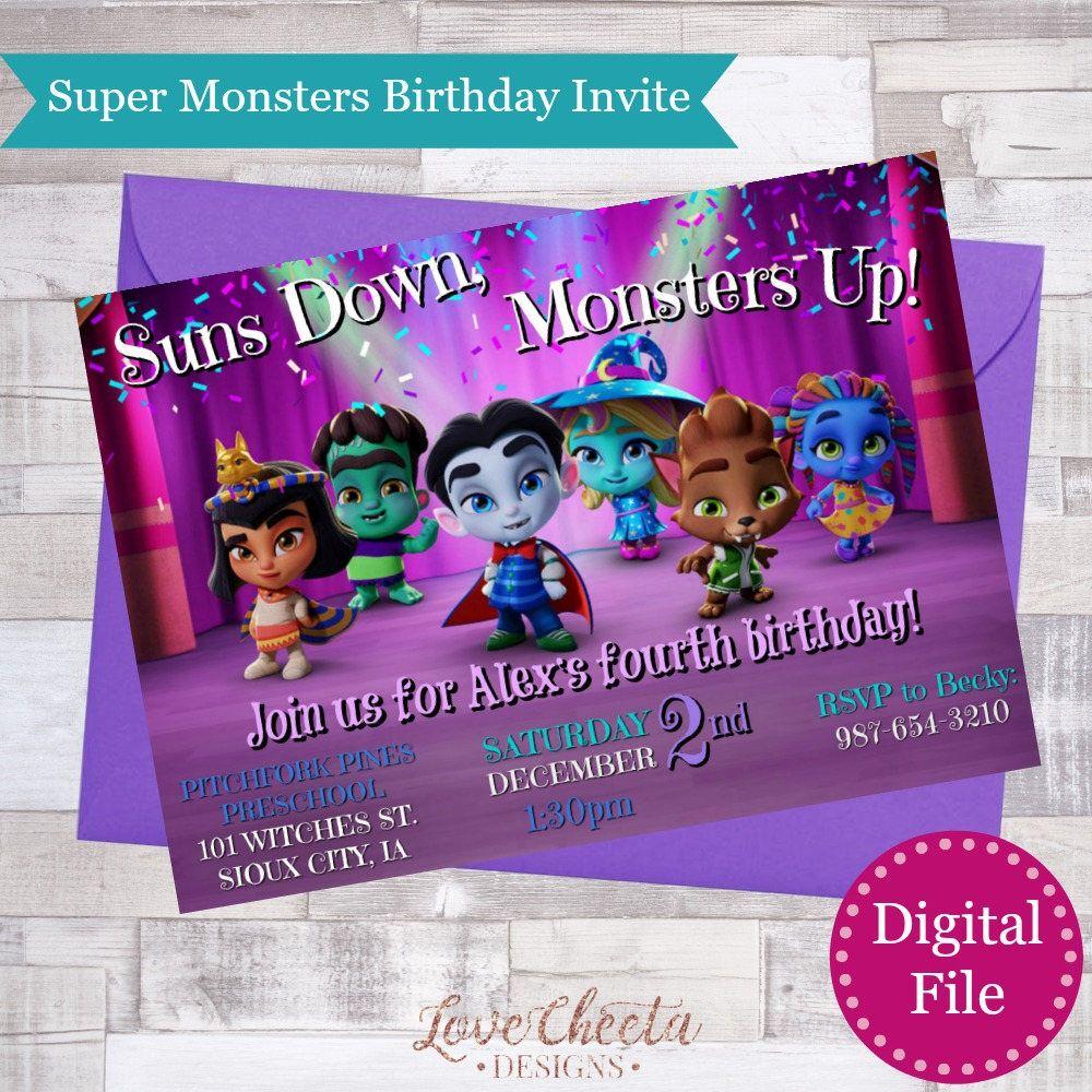 Netflix original super monsters kids birthday party invitation from netflix original super monsters kids birthday party invitation from my etsy shop https stopboris Choice Image