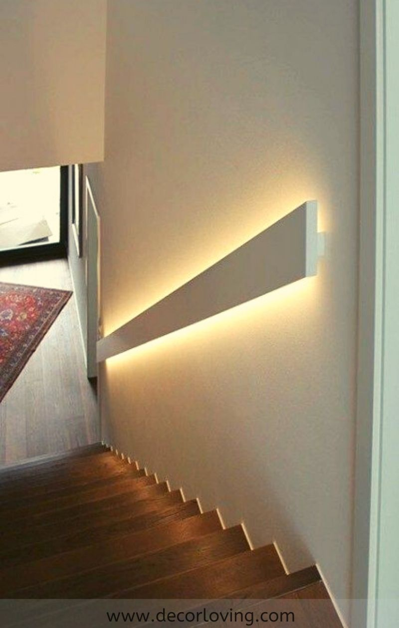 Lighting In The Stair Handrail Styles For Simple Home Decor Ideas In 2020 Stair Handrail Diy Stair Railing Handrail Lighting
