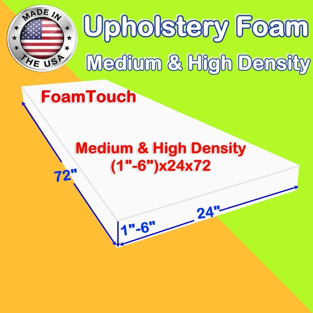 Foam Sheets 8434 High And Medium Density By Foamtouch Upholstery Foam Sheets 1 6 X 24 X 72 Buy It Now Only 42 99 On Ebay Upholstery Foam Foam Sheets Upholstery