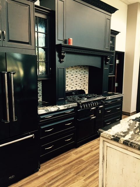 Matte Black Cabinets Pair Well With The Porcelain Finish Of Aga Legacy Dual Fuel Range And French Door Refrigerator