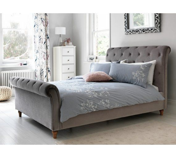 online store 5bb2d 490ce Home Cranford Scroll Velvet Double Bed Frame - Silver ...