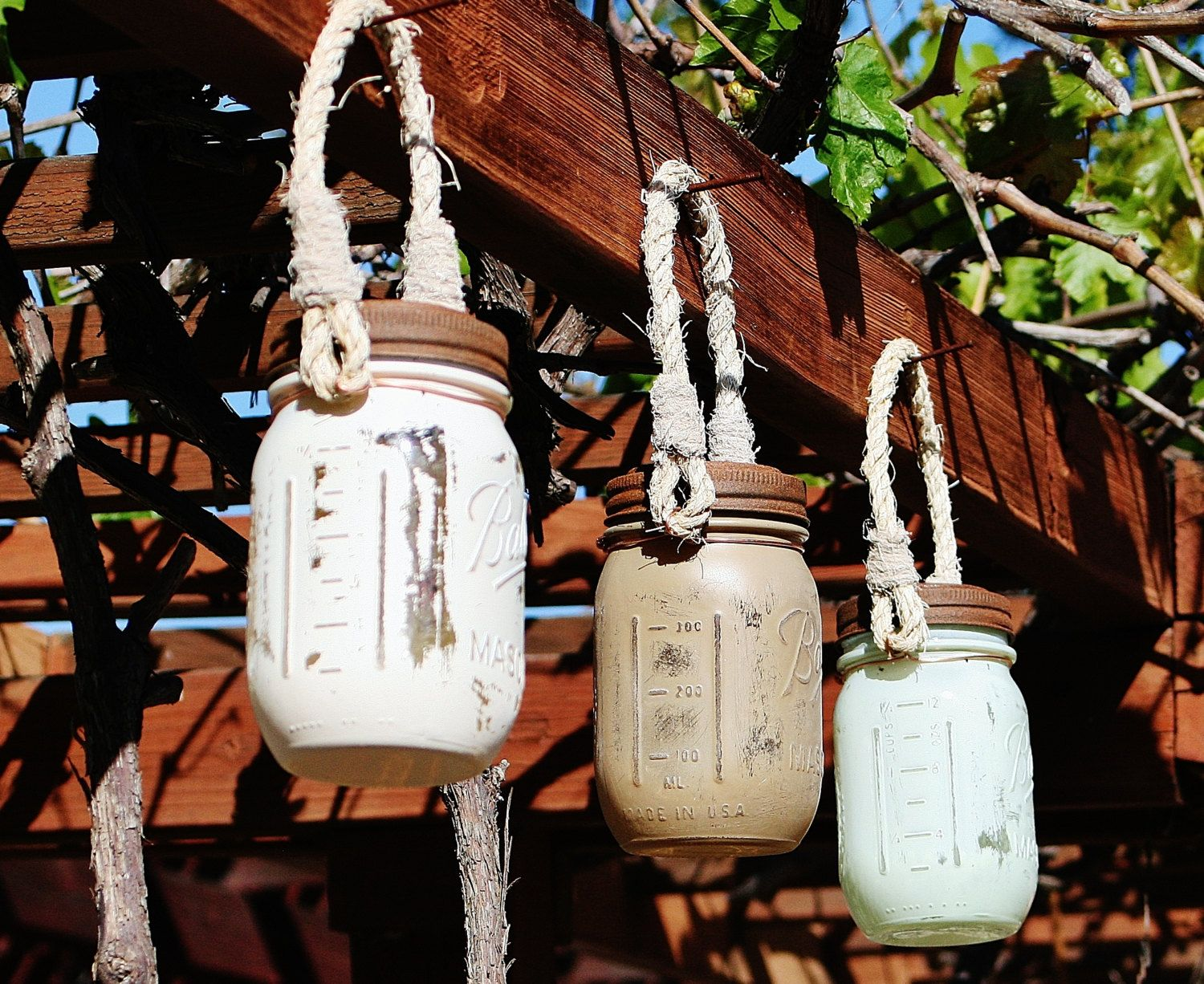 Mason Jar Solar Lights with Rope Handle. TWO lanterns. Painted and distressed.