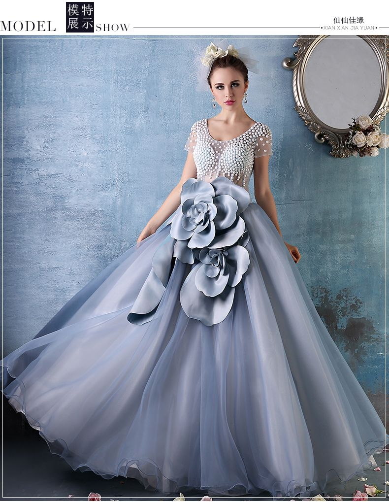 100%real luxury 3d big flower beading ball gown Medieval dress Renaissance  gown royal princess Victoria dress Belle Ball 9f8676a6a
