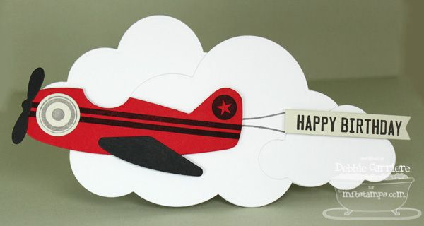 Great Shape Card Using Airplane Cloud Dies From Mft Card Making Kids Birthday Cards For Boys Kids Cards