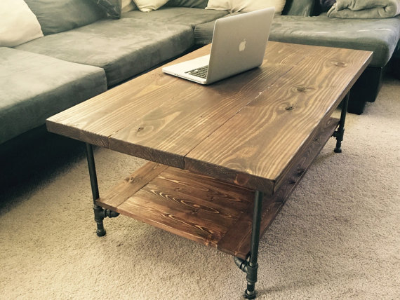 Large industrial rustic wood pipe coffee table by for Rustic pipe table