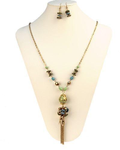 Long Tassel Necklace Set