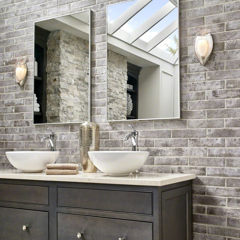 "Accent Wall Bathroom: Capella Brick Porcelain Tile 2.3"" X 10"" - Taupe"