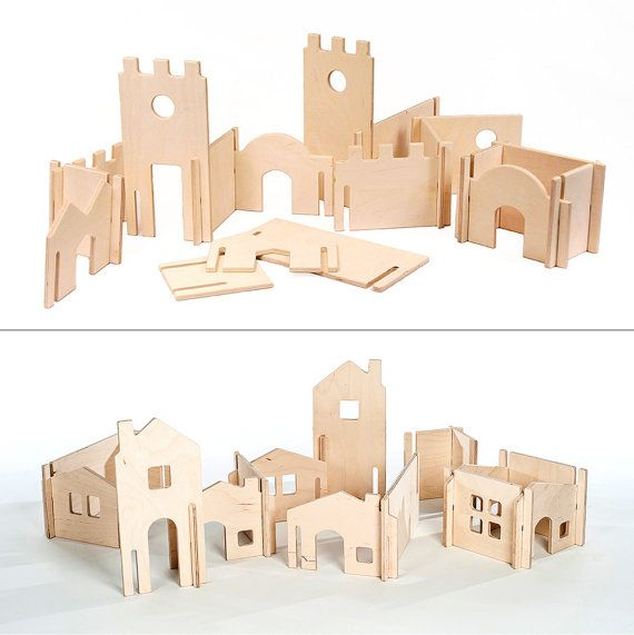 Modular Tree House and Building Walls // Natural Wood Dollhouse Toy will Challenge Kids' Creativity //Modular Building Blocks #dollcare