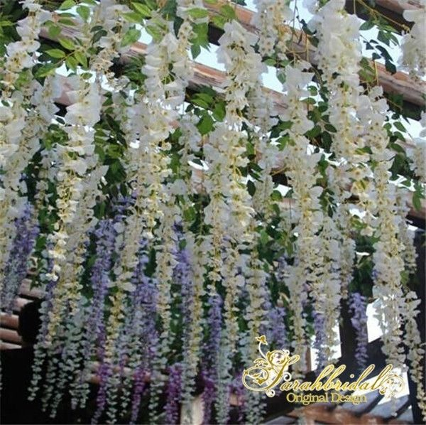 12pcs white artificial hanging flower wisteria garland vine wedding 12pcs white artificial hanging flower wisteria garland vine wedding home decor mightylinksfo Choice Image