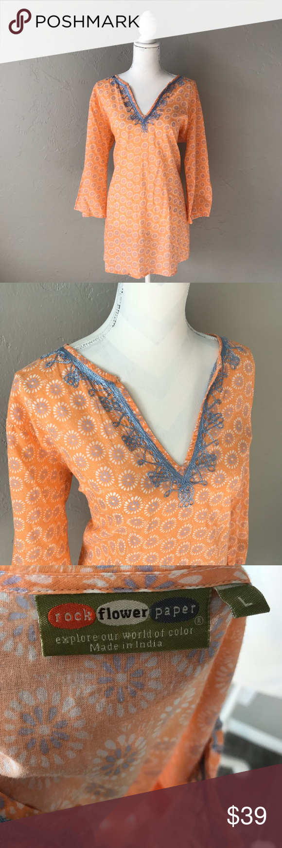 Rock Flower Paper Colorful Floral Tunic Beautiful And Cheery Tunic