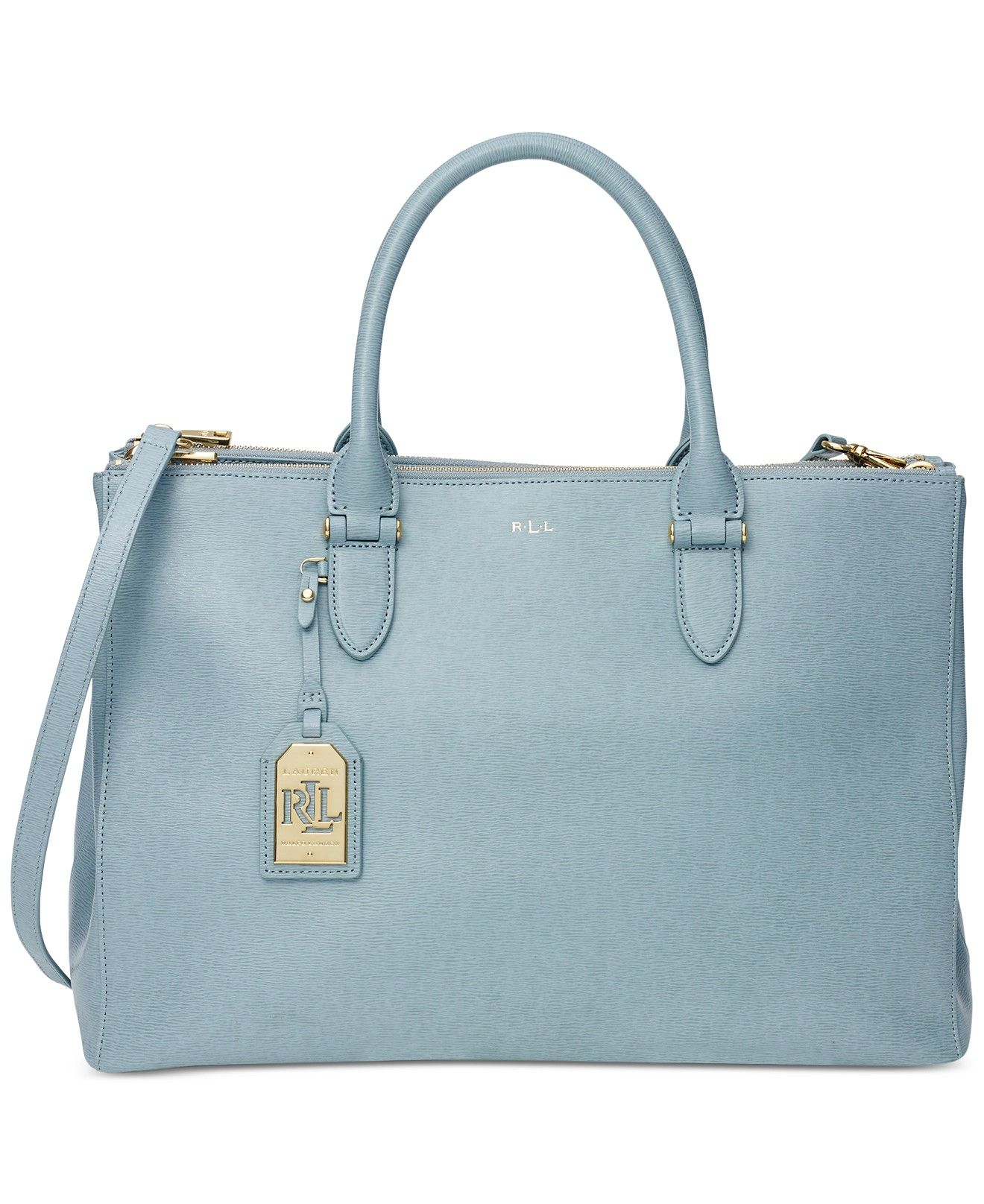 53dfa2350167 Lauren Ralph Lauren Newbury Double Zip Satchel Light Blue Leather Shoulder  Strap Handbag Designer Fashion