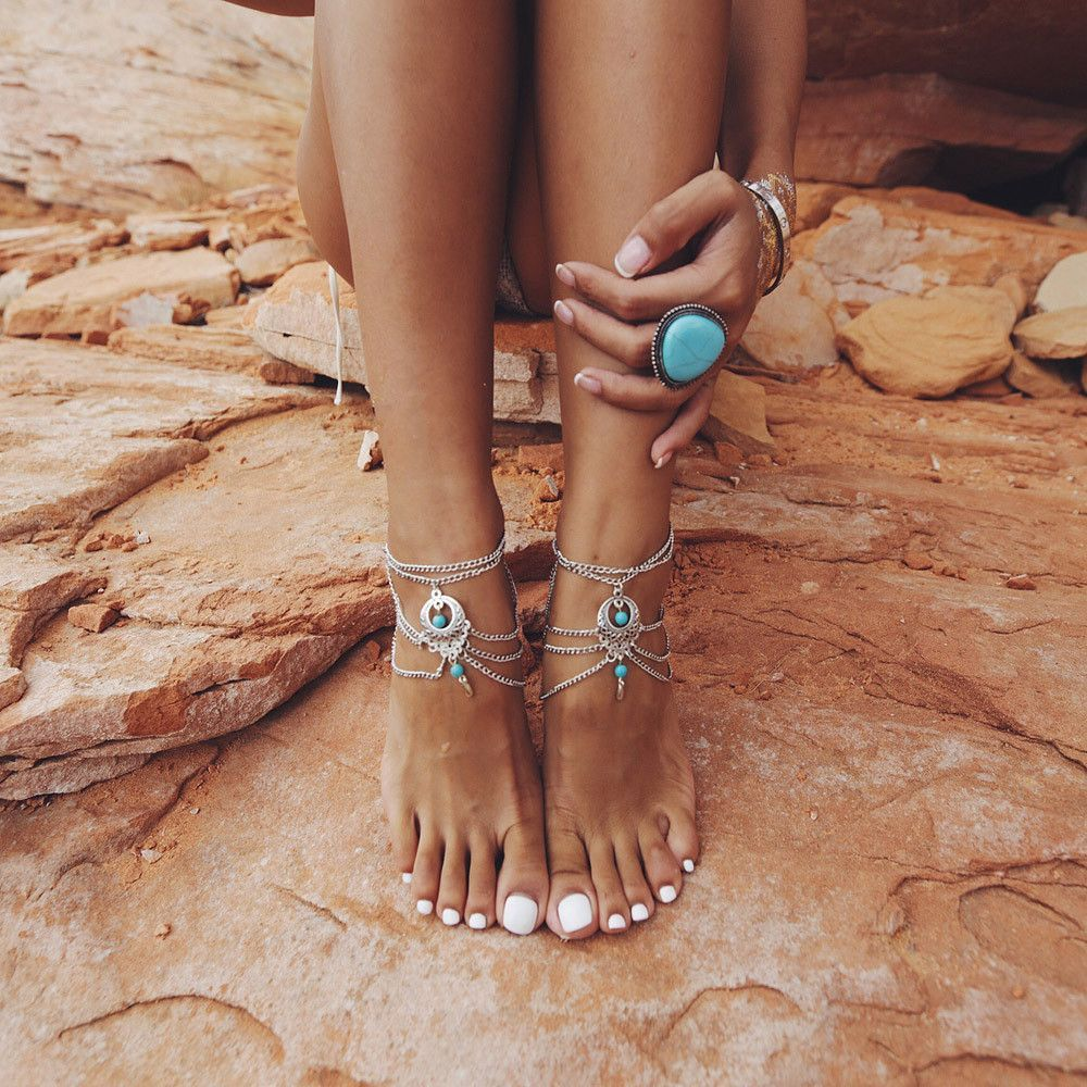 Jewelry Sets & More Anklets Vintage Antique Silver Color Anklet Women Big Blue Stone Beads Bohemian Ankle Bracelet Cheville Boho Foot Jewelry Selling Well All Over The World