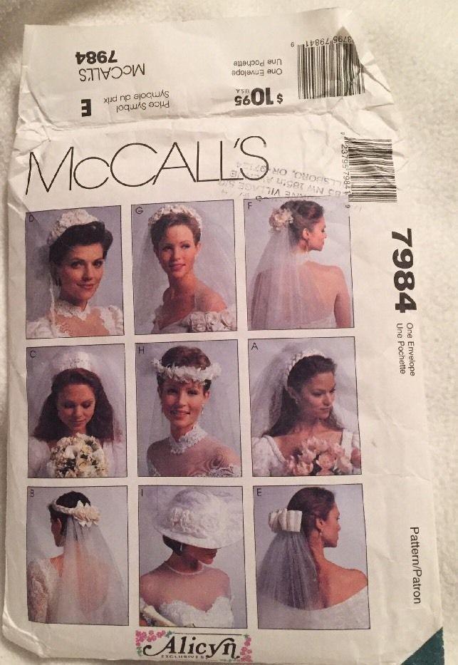 McCalls 7984 Bridal Veil Headpieces 1 with Bow Wedding Uncut FF ...