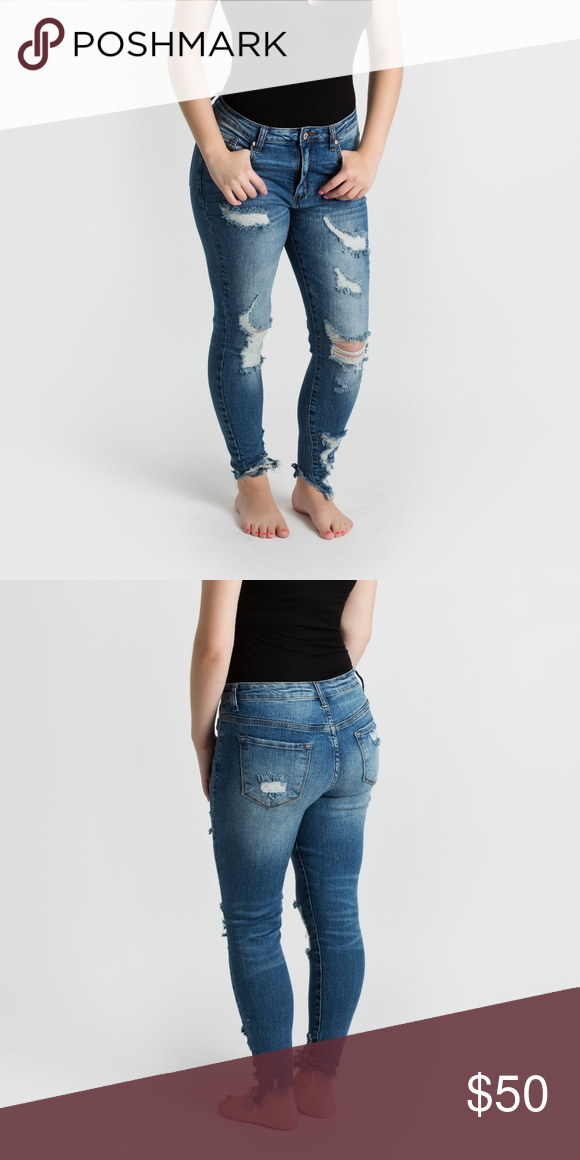 64fc0d55effc7 KanCan Dark Distressed Denim Jeans A great pair of distressed denim with a  whole lot of
