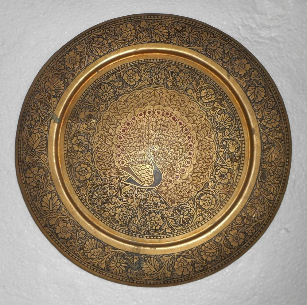 Antique Brass Wall Plates Stunning India Vintage Brass Wall Plate Peacock Design Very Decorative Piece Decorating Inspiration