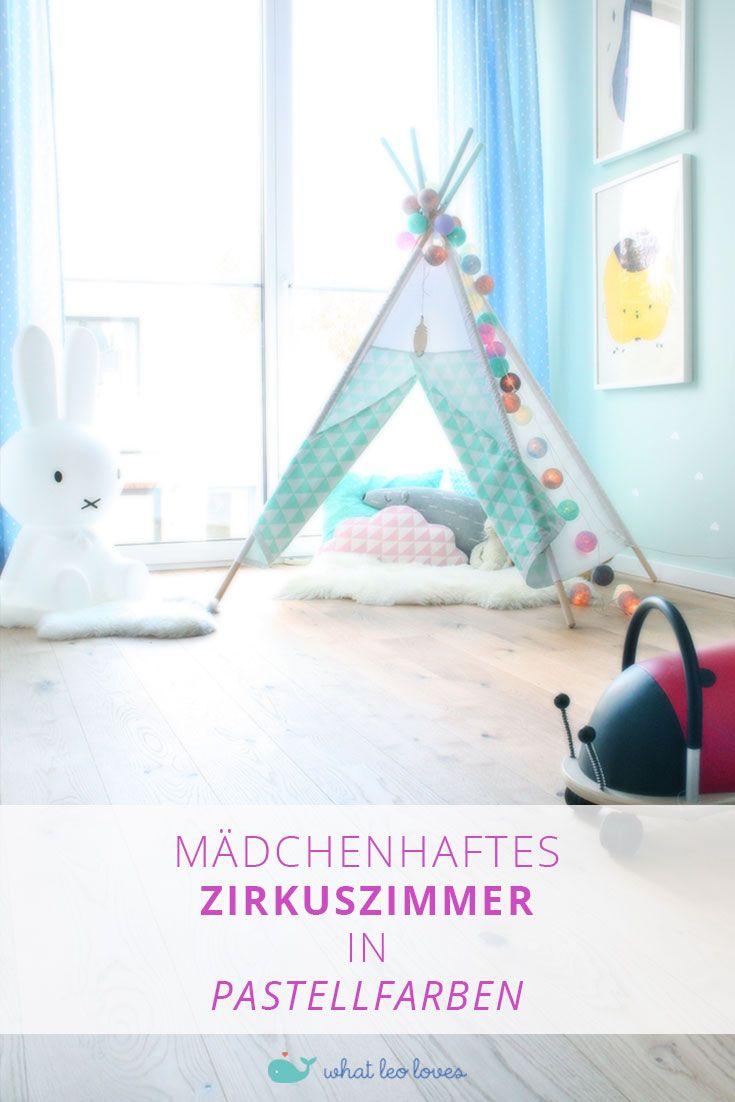 Einrichtungsstory: Entzückendes mädchenhaftes Zirkuszimmer in Pastellfarben. Konzept für ein komplettes Kleinkindzimmer mit kompletter Shoppingliste.   Kinderzimmer für Mädchen, Kinderzimmer einrichten, Mädchenzimmer, Pastellfarben