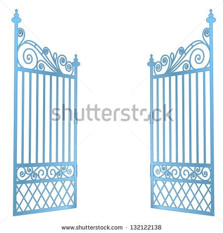 isolated steel decorated baroque open gate vector illustration ...