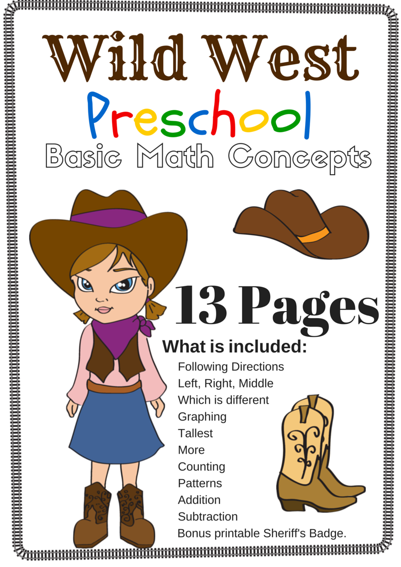 wild west preschool basic math concepts free 13 page printable pack cowboy western theme. Black Bedroom Furniture Sets. Home Design Ideas