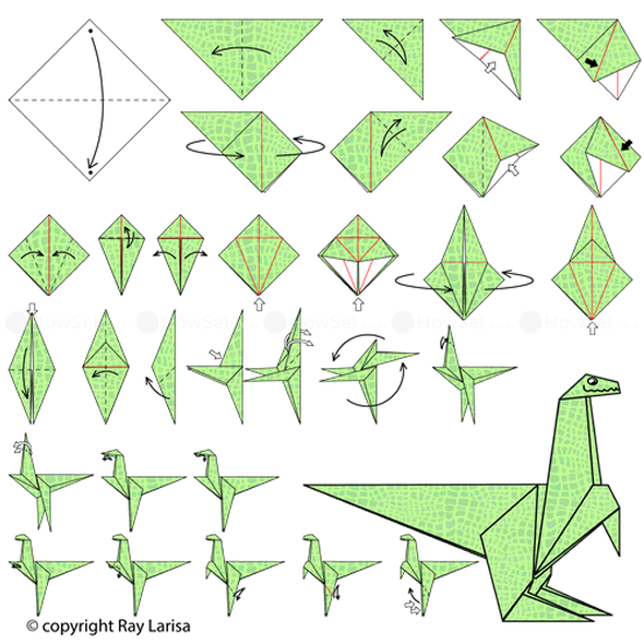 Como fazer Dinossauros de Papel com Origami passo