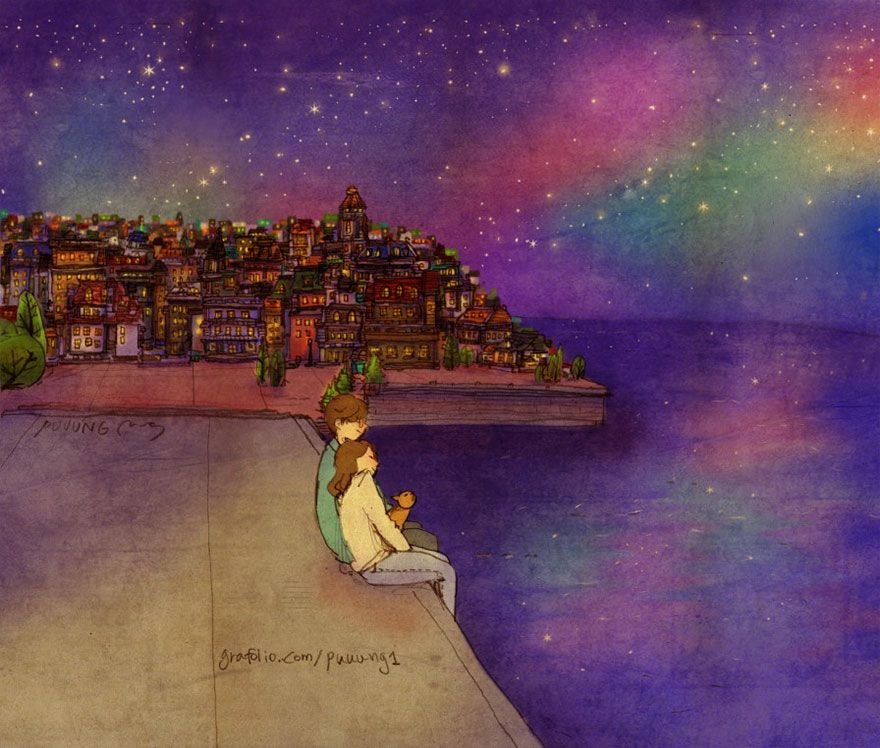 """Watching The Sea At Night  Korean artist Puuung """"Love Is In The Small Things"""" series http://www.grafolio.com/puuung1/store.grfl"""