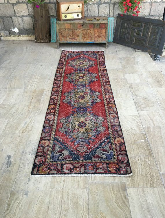 FREE SHIPPING! Runner Rug 2.8x9.6ft Vintage Oushak Rug Handmade Rug Muted Color Rug Oushak Runner Rug Turkish Rug Red Runner Rug