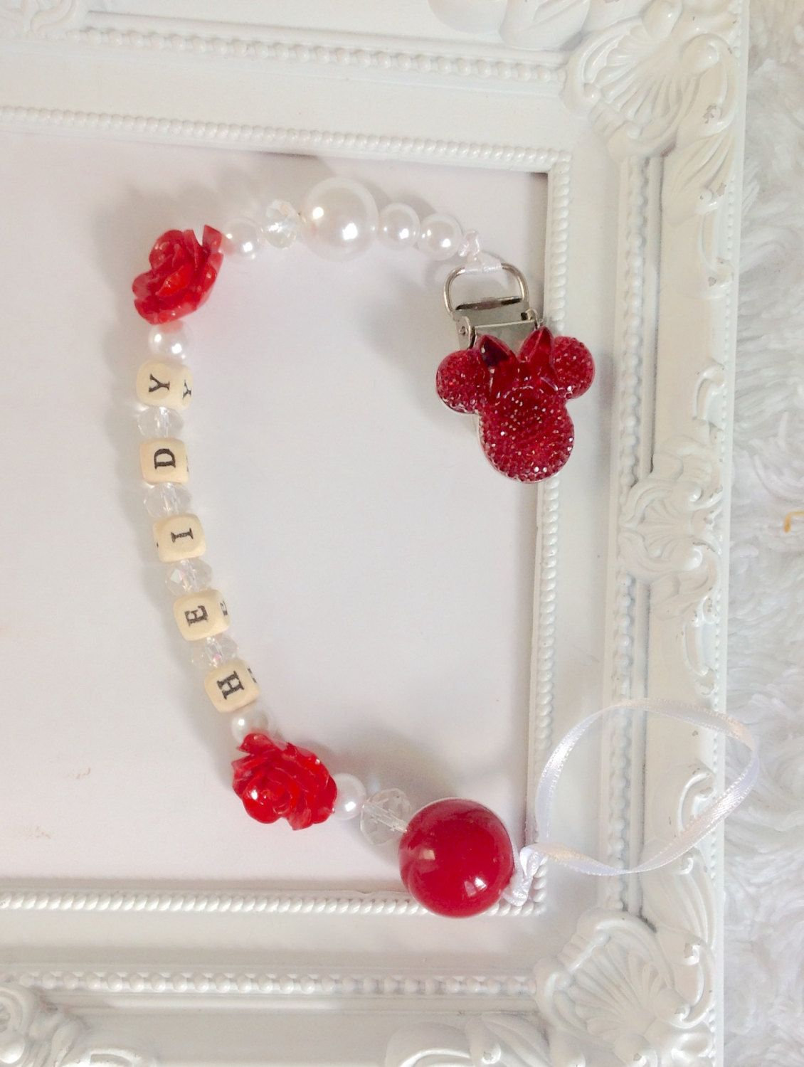 NEW! Disney Red//Grey Mickey Mouse Handmade Baby Dummy Clips