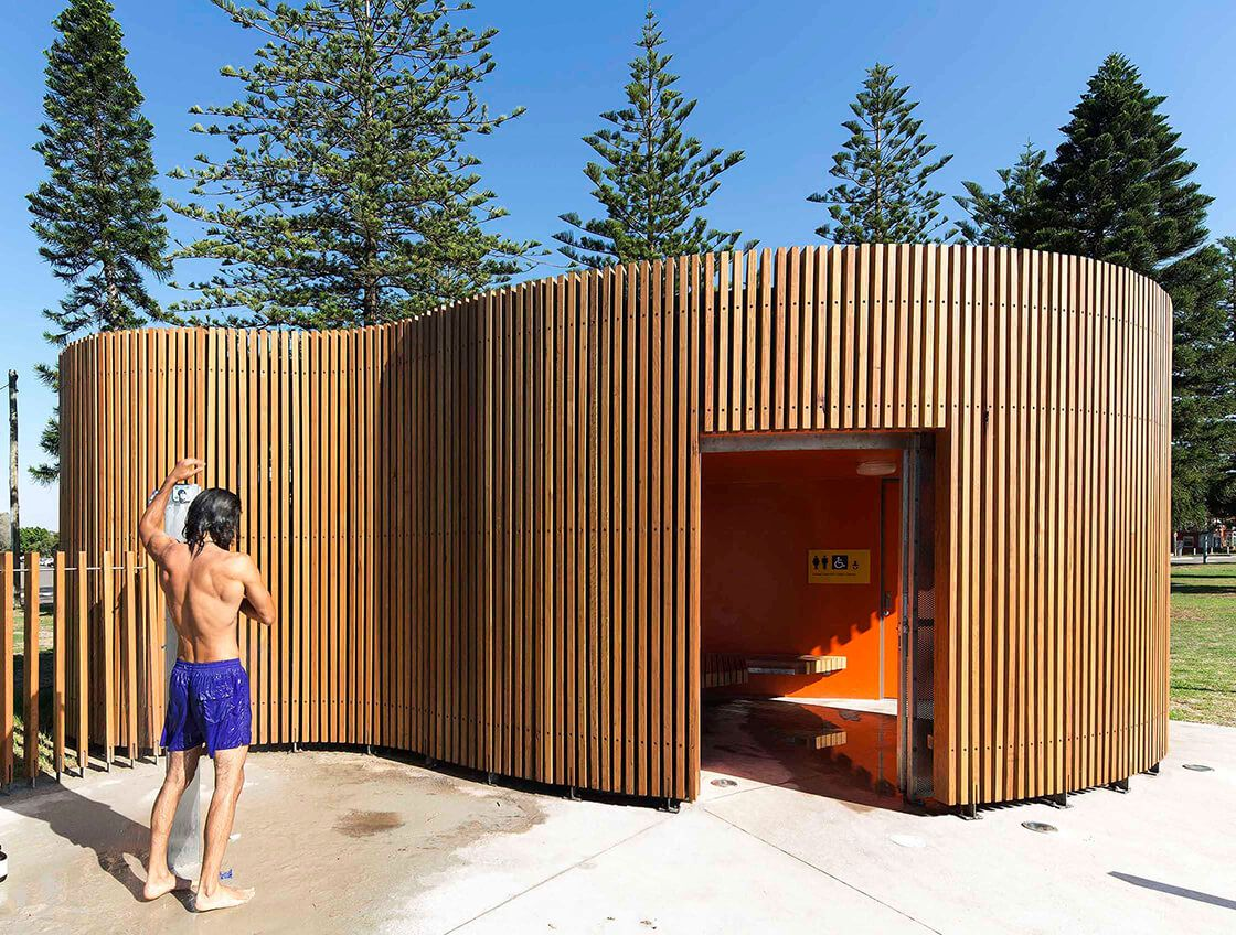 public toilet design architecture. These sculptural public toilets and shower blocks by Fox Johnston architects  are situated on Sydney s coastal beaches They deliver facilities that low Cook Park Amenities wc Pinterest Toilet