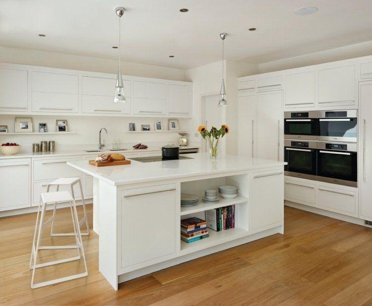 Plan de travail cuisine en blanc- quartz ou Corian? Kitchen design - plan de cuisine moderne avec ilot central