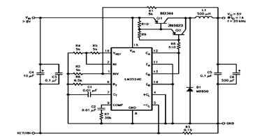 5v 1a step down switching regulator using lm2524d and datasheet5v 1a step down switching regulator using lm2524d and datasheet schematic