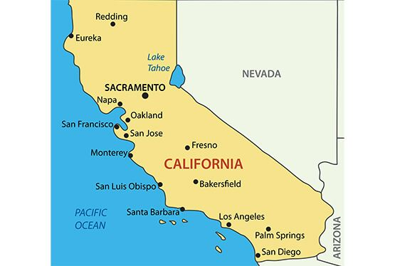 California Map Blank Political California Map With Cities Maps - Californiamap