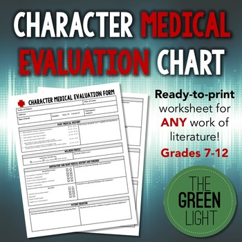 Literary Character Medical Evaluation Chart - Worksheet, Project - medical evaluation