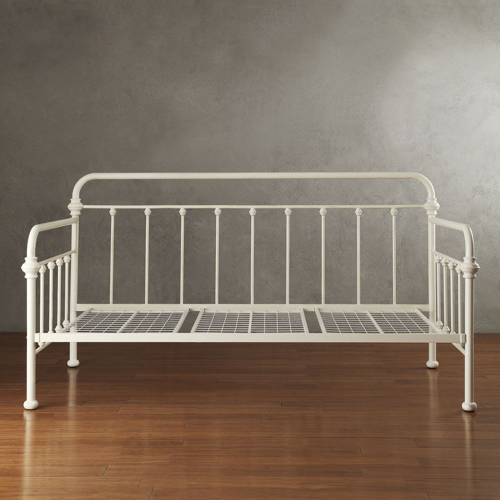 INSPIRE Q Giselle Antique White Graceful Lines Iron Metal Daybed ...