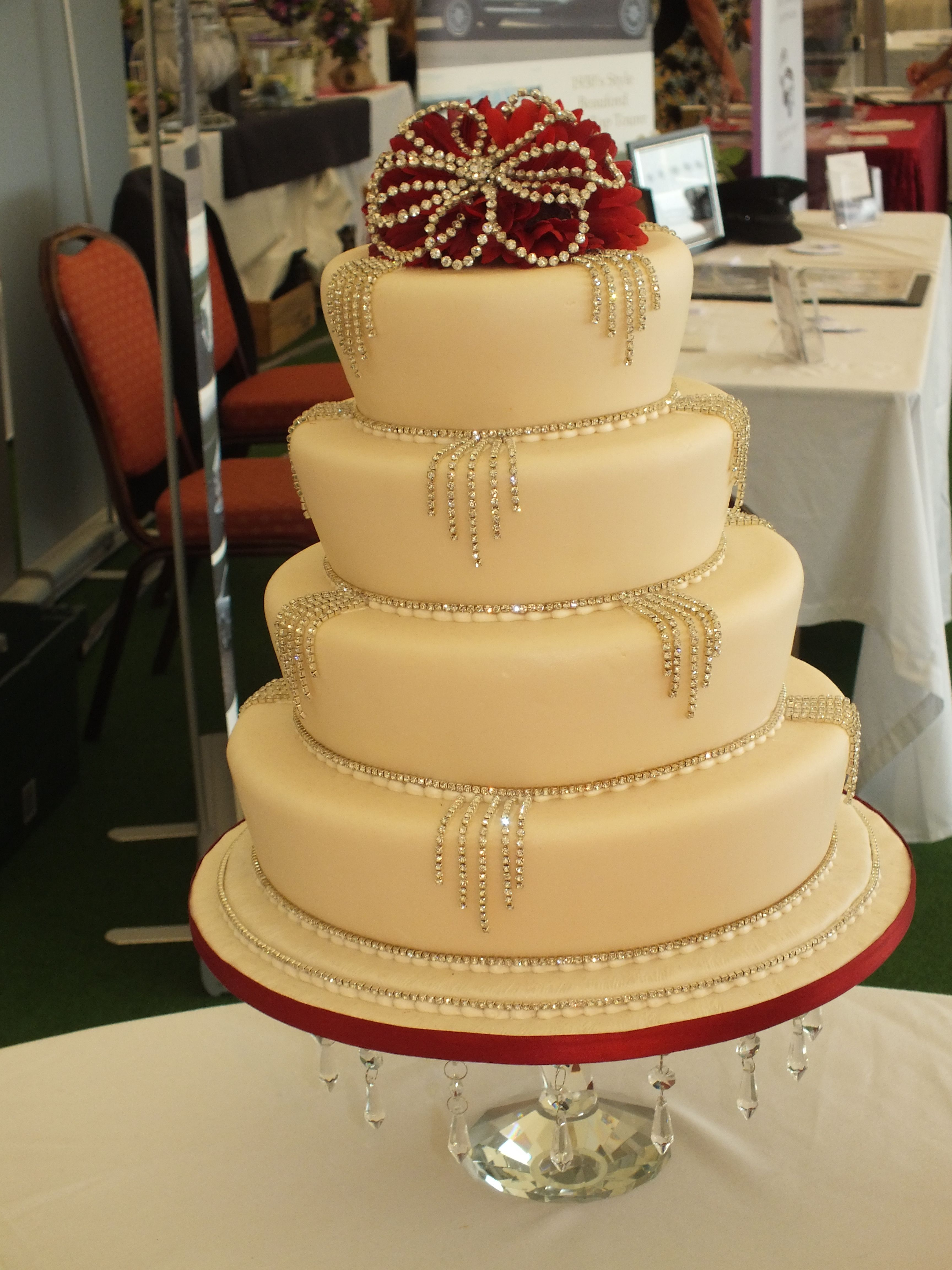 Brynawel Creative Cakes Diamontes Red 4 tier cake Bespoke crystal ...