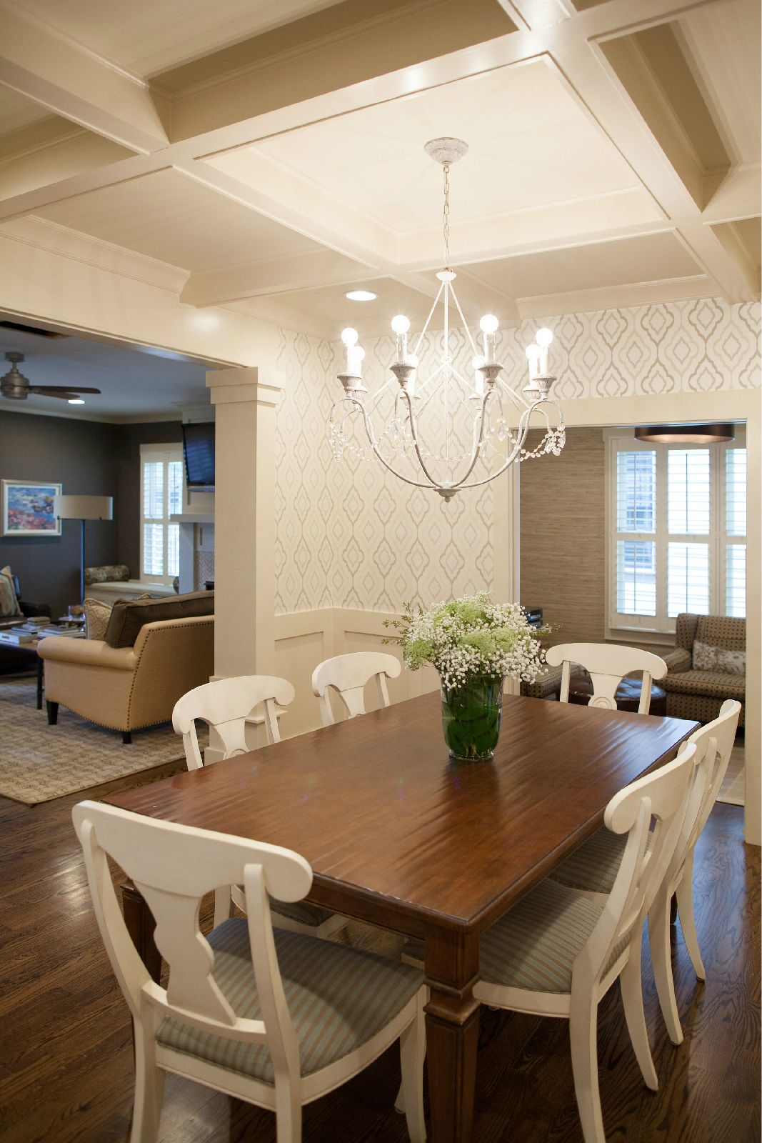 Dining room coffered ceiling sherwin williams panda white