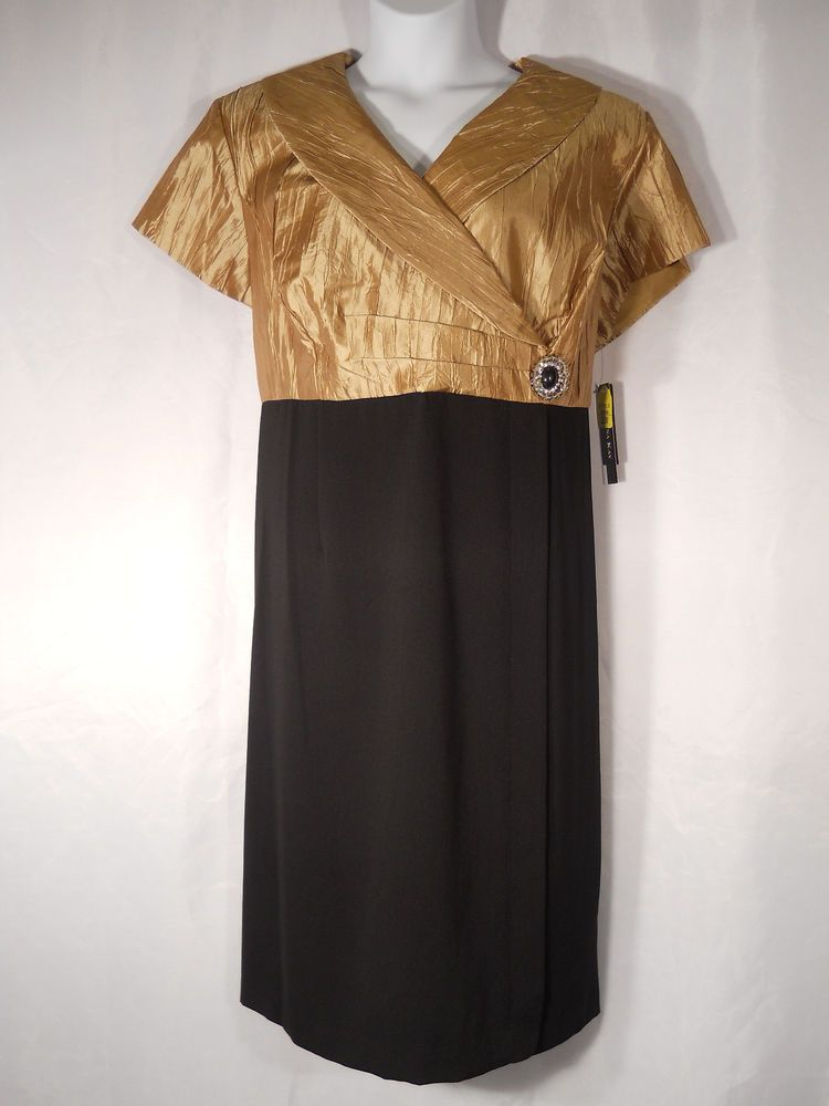 PLUS SIZE 22W Evening Dress DANA KAY Wing Collar Black Gold Prom Formal Holiday